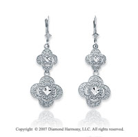 14k White Gold Classical Filigree Drop Style Earrings