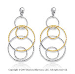 14k Two Tone Gold Multiple Circle Fine Drop Earrings