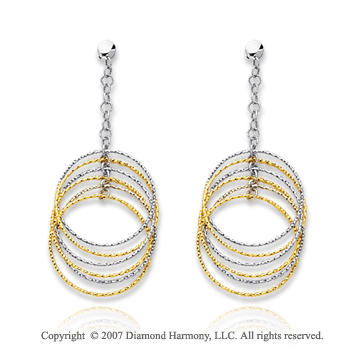 14k Two Tone Gold Multi Circle Elegant Drop Earrings