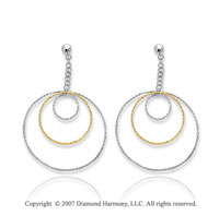 14k Two Tone Gold Triple Circle Fine Drop Earrings