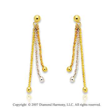 14k Two Tone Gold Tri Strand Fashionable Drop Earrings