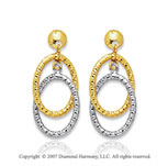 14k Two Tone Gold Elegant Short Oval Drop Earrings