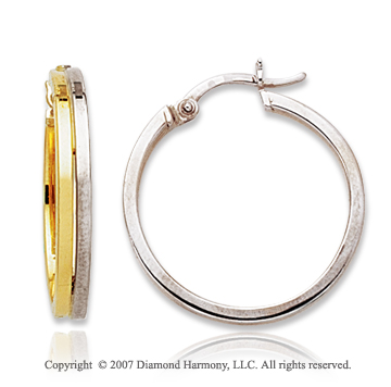 14k Two Tone Gold Fine Stylish Round Hoop Earrings