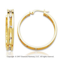 14k Two Tone Gold Fine Modern Design Hoop Earrings