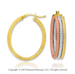 14k Tri Tone Gold Hinged Post Stylish Hoop Earrings