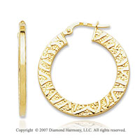 14k Yellow Gold Stylish Texture Circle Hoop Earrings