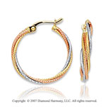 14k Tri Tone Gold Fashionable Circle Hoop Earrings