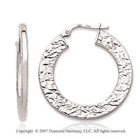 14k White Gold Stylish Texture Circle Hoop Earrings