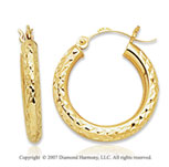 14k Yellow Gold Perfe Carat Stylish Carved Hoop Earrings