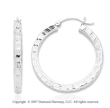 14k White Gold Great Stylish Round Small Hoop Earrings