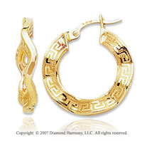 14k Yellow Gold Elegant Greek Pattern Hoop Earrings