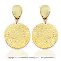 14k Yellow Gold Round Fashion Carved Drop Earrings