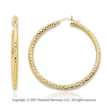 14k Yellow Gold Graceful Circle Medium Hoop Earrings