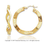 14k Yellow Gold Stylish Greek Pattern Hoop Earrings
