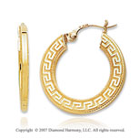14k Yellow Gold Fine Greek Pattern Carved Hoop Earrings