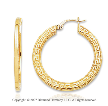 14k Yellow Gold Fine Greek Pattern Medium Hoop Earrings