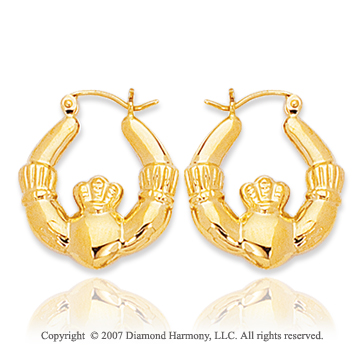 14k Yellow Gold Royal Carved Pattern Hoop Earrings