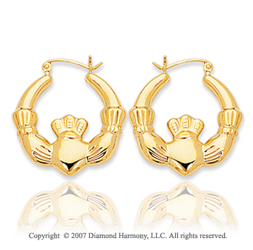 14k Yellow Gold Royal Stylish Carved Hoop Earrings
