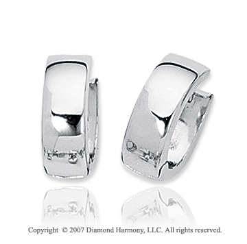 14k White Gold Sleek Elegant Snuggable Huggie Earrings