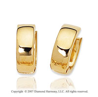 14k Yellow Gold Sleek Elegant Snuggable Huggie Earrings