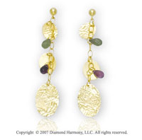 14k Yellow Gold Pear Peridot Amethyst Drop Earrings