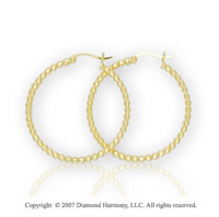 14k Yellow Gold Hinge Post Stylish Carved Hoop Earrings