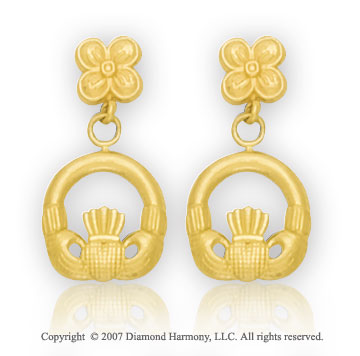 14k Yellow Gold Floral Claddagh Drop Earrings
