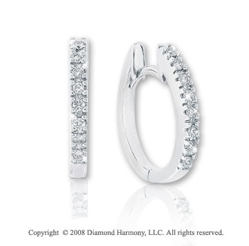 14k White Gold 1/8 Carat Diamond 1/2^ Huggie Earrings