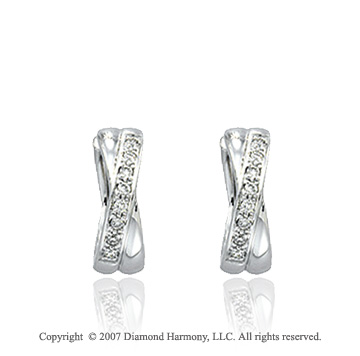 1/6 Carat Diamond 14k White Gold Round Prong Earrings