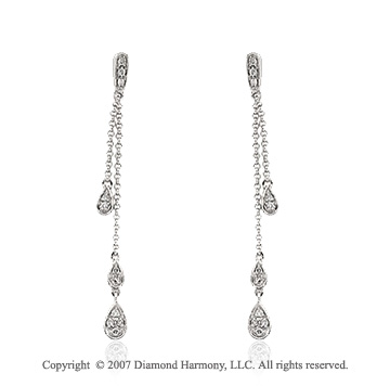 1/6 Carat Diamond 14k White Gold Stylish Teardrop Earrings