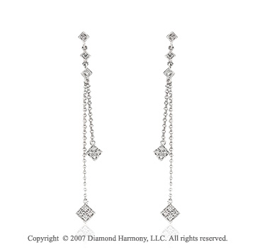 1/6 Carat Diamond 14k White Gold Fine Stylish Drop Earrings