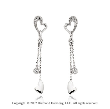 14k White Gold Diamond Stylish Hearts Drop Earrings