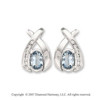 4/5 Carat Diamond 14k White Gold Aquamarine Button Earrings