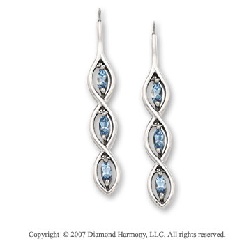 14k White Gold Aquamarine Marquise Drop Earrings