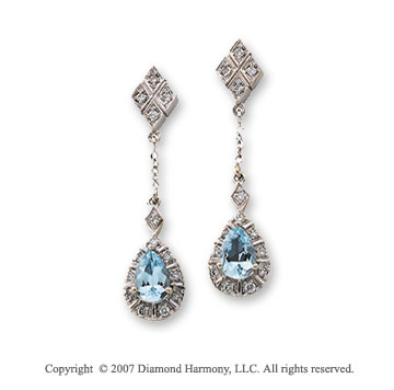 1/6 Carat Diamond 14k White Gold Aquamarine Pear Drop Earrings