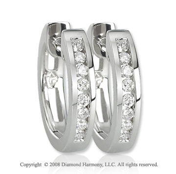 14k White Gold 1/4 Carat Stylish Diamond Huggie Earrings
