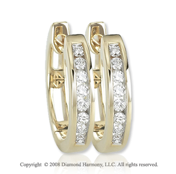 14k Yellow Gold 1/4 Carat Hinged Round Diamond Huggie Earrings