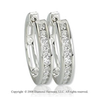 14k White Gold 1/2 Carat Attra Carative Diamond Huggie Earrings