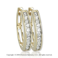 14k Yellow Gold 1/2 Carat AttraCtive Diamond Huggie Earrings
