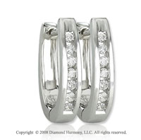 14k White Gold 1/6 Carat Classic Diamond Huggie Earrings