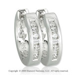 14k White Gold 1/6 Carat Simple Classic Diamond Huggie Earrings