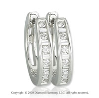 14k White Gold 1/4 Carat Baguette Diamond Huggie Earrings