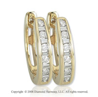 14k Yellow Gold 1/4 Carat Baguette Diamond Huggie Earrings