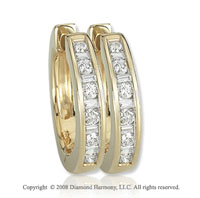 14k Yellow Gold 1/3 Carat Classic Diamond Huggie Earrings