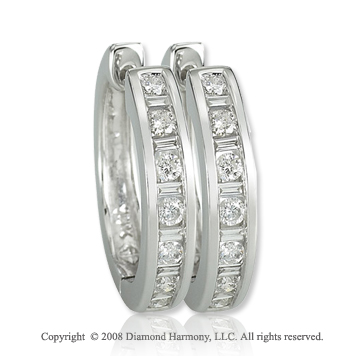 14k White Gold 1/2 Carat Elegant Diamond Huggie Earrings
