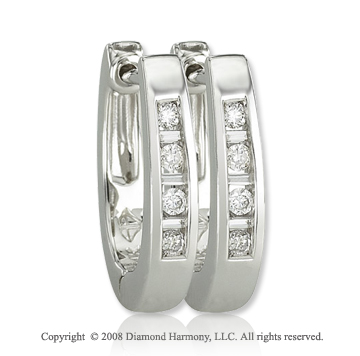 14k White Gold 1/6 Carat Sleek  Diamond Huggie Earrings