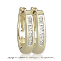 14k Yellow Gold 1/6 Carat Sleek Diamond Huggie Earrings