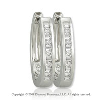 14k White Gold 1/4 Carat Fashionable Diamond Huggie Earrings