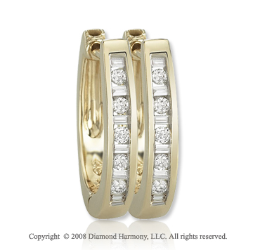 14k Yellow Gold 1/4 Carat Fashionable Diamond Huggie Earrings