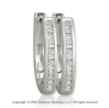 14k White Gold 1/3 Carat Finely Diamond Studded Huggie Earrings